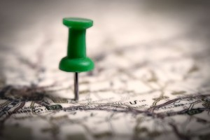 thumb tack on a map