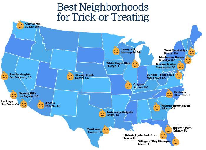 Map of neighborhoods that have the best trick or treating for families