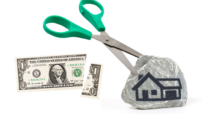 Pair of scissors unable to cut real estate whereas the dollar is easily cut like inflation