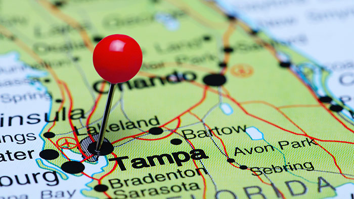 Tampa on US Map
